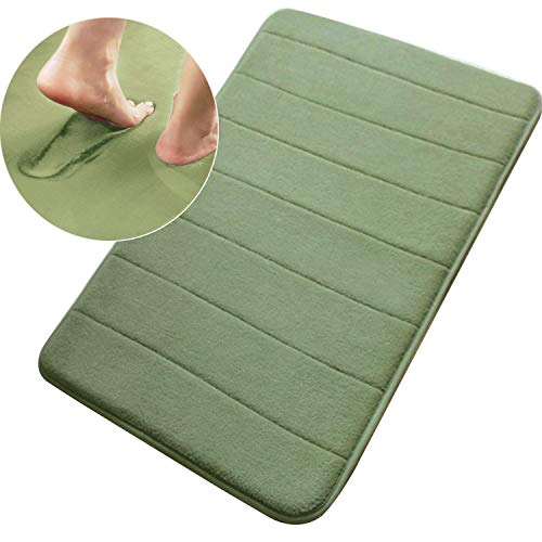 "Memory Foam Bath Mat Non Slip Absorbent Bathroom Rug Super Water Absorption Bathroom Carpet Non-Slip Thick Bathroom Mat (17"" X 24"", Green)"