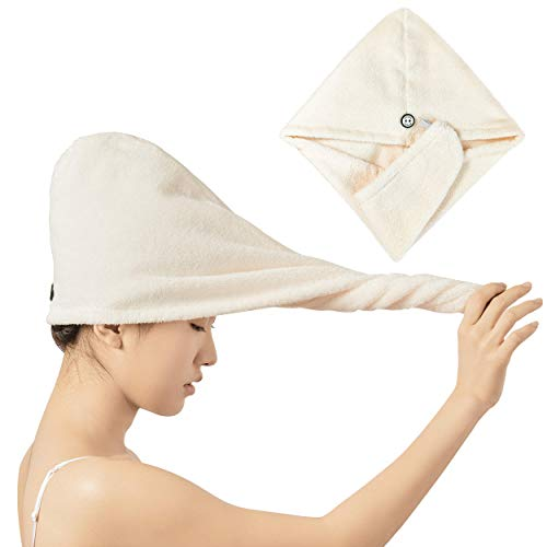 Grunplus Hair Towel Wrap – Premium Cotton Hair Towel – Highly-Absorbent Cotton Hair Towel – Quick and Easy Dry Hair Wrap – Anti-Frizz Hair Drying Towel – Towel Turban for All Types of Hair