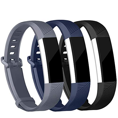 iGK Replacement Bands Compatible for Fitbit Alta and Fitbit Alta HR, Newest Adjustable Sport Strap Smartwatch Fitness Wristbands Black Navy Gray Large