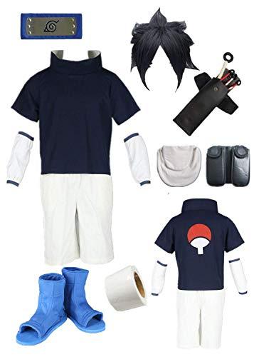MANMICOS Anime Sasuke Uchiha Cosplay Disfraces 1st ver Trajes Halloween Conjunto completo, azul, XXXS