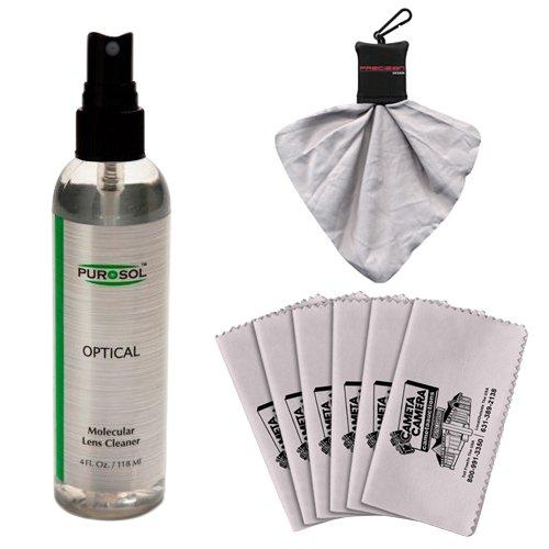 Purosol All Natural Optical Molecular Lens & DSLR Camera Cleaner (4 Fl. Oz.) with Spudz + 6 Microfiber Cleaning Cloths