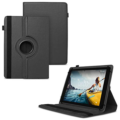 Nauci Tablet Hülle kompatibel für Medion Lifetab E10702 MD61614 Tasche Schutzhülle Case Universal Cover Standfunktion 360° Drehbar Schwarz