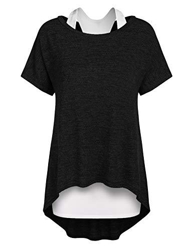 Parabler Damen Lose Asymmetrisch Jumper Sweatshirt Pullover Blusen Oberteile Oversized T Shirt Kurz Ärmel Longshirt Umstandsmode Langshirt Sommer Schwarz XL