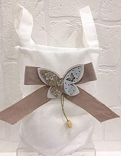 12 ück Tasche Gastgeschenk Bomboniere mit Schmetterling taupe
