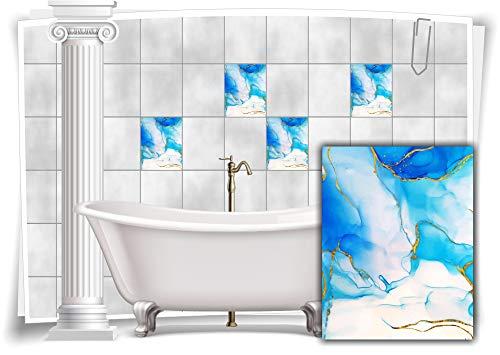 Medianlux Adhesivo decorativo para azulejos, mármol, óleo, pintura abstracta, baño dorado y azul, 12 unidades, 15 x 20 cm m23m13h-136921