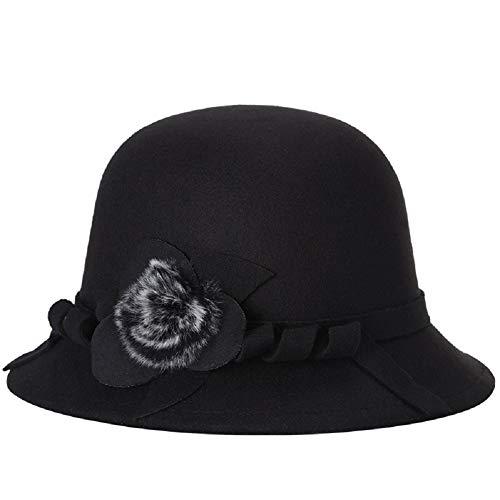 ZUMUii Butterme Frauen Damen Vintage Wool Round Bowler Hat Fedora Derby Hüte Vintage Cloche Hüte Bucket Cap Hut Schwarz
