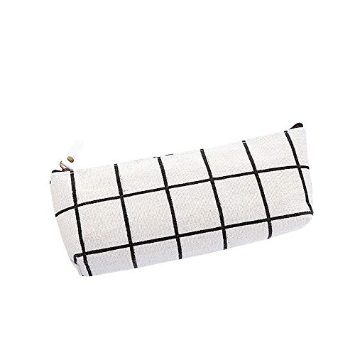 Smniao Studenten Mäppchen Federmäppchen Schulmäppchen Teenager Mädchen Leinwand Gitter Bleistift Beutel Kosmetik Tasche (Weiß)