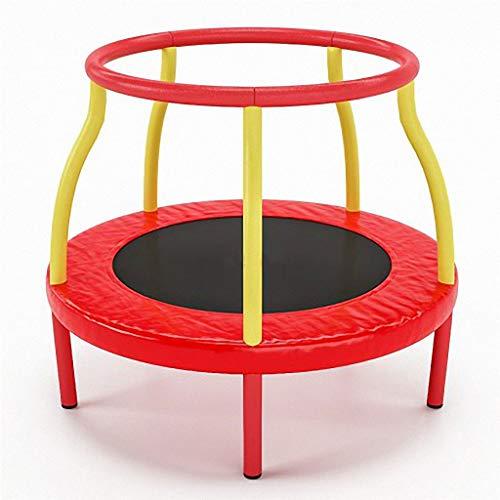 JYTTCE Kindertrampoline, laag geluidsniveau en veilig binnen trampoline, 360° leuning, kindersporten, kan bestand zijn tegen 100KG, 48 inch yoga levert trampoline Rood