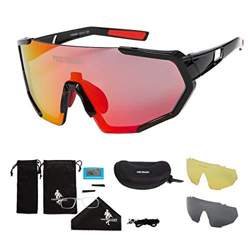 FREE SOLDIER Polarisierte Sport Sonnenbrille mit 3 Wechselgläsern für Herren Damen Fahrradbrille UV400 Leichte Rennrad Brille Beim Reiten Wandern Segeln Angeln Fahren Golf(Schwarzer + Orangerot)