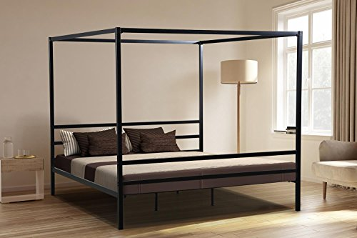 Oliver Smith - Modern Heavy Duty Black Iron Metal Platform Canopy Bed with Slats/No Box Spring Needed/Wooden Slat Supports - 5 Year Warranty Included - 00016-72' High Queen