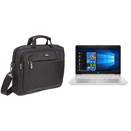 AmazonBasics Funda para Llevar del Hombro Ordenador portátil de 14 Pulgadas (35,6 cm) e iPad, Negro, 1 Unidad + HP Stream 14-ds0000ns - Ordenador portátil de 14
