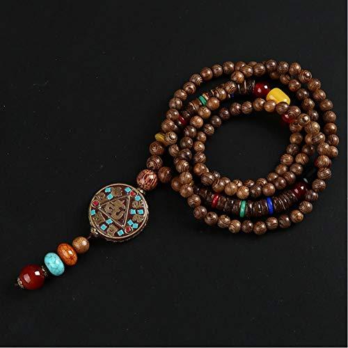 CXKEB Nepal Budista Mala Cuentas de Madera Collares Collar de Piedra Natural Colgante para Mujeres Hombres Elefante Collar étnico