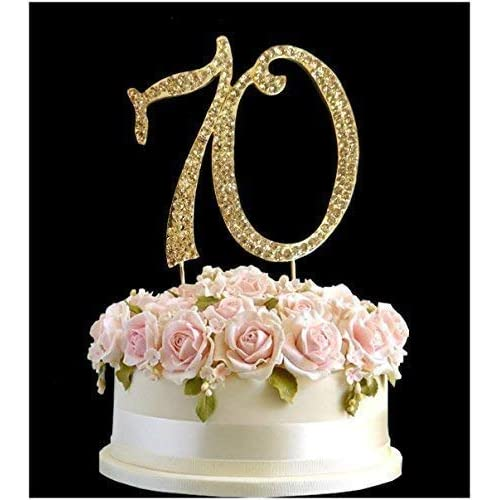 Rhinestone Crystal Birthday Cake Topper Number Pick 70th Diamante Gems Decoration