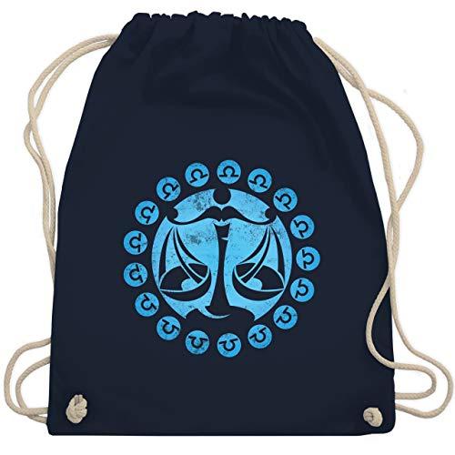 Symbole - Tierkreiszeichen Waage - Unisize - Navy Blau - Sternzeichen - WM110 - Turnbeutel und Stoffbeutel aus Baumwolle