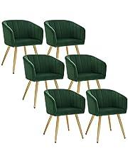 EUGAD Eetkamerstoel set van 6 fluwelen/Technologie stof oppervlak en metalen poten,receptie stoel multifunctionele Keukenstoel,e889