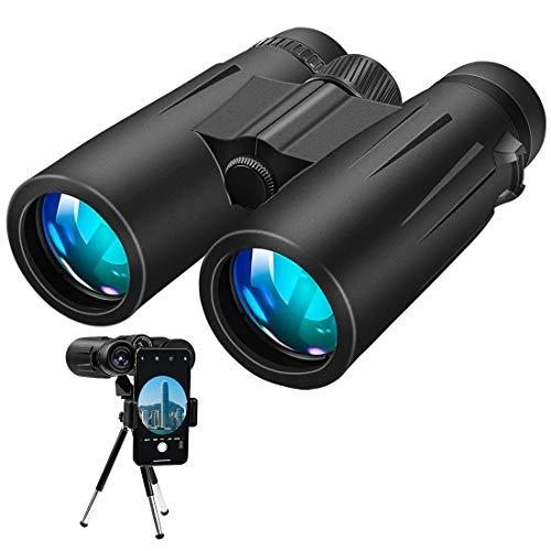 Binoculares, 12x42 Prismaticos Profesionales con trípode y adaptador para teléfono inteligente para observación de aves, senderismo, viajes, caza y deportes