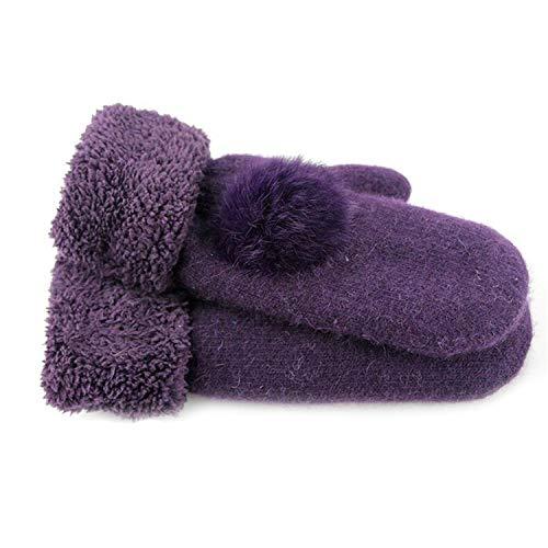 Small-shop Winter Gloves Gants pour Femme - Gants d'hiver en Cachemire inversés - Couleur Unie, Femme, G036 Purple, 10cm X 21cm