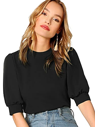 SheIn Women's Puff Sleeve Casual Solid Top Pullover Keyhole Back Blouse Black Large