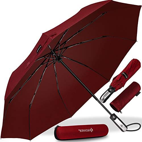KESSER® Regenschirm Taschenschirm mit Auf-Zu-Automatik - inkl. Schirm-Tasche & Reise-Etui - sturmfest bis 150 km/h - klein - leicht & kompakt - Teflon-Beschichtung - stabil Damen & Herren Rot