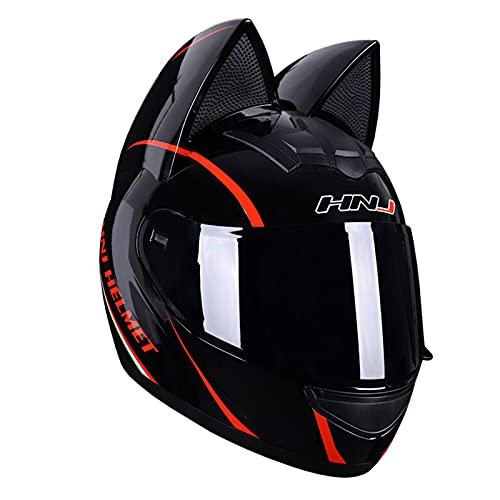 Casco De Motocicleta Personalizado Con Orejas De Gato, Casco Integral De Motocicleta, Casco De Moto Completo Cool Cat, Visera Solar Para Hombres Y Mujeres, Aprobado Por DOT/ECE,B,M