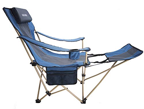KHORE Camping Folding Portable Recliner Chair with Adjustable and Removabel Footrest (Blue)