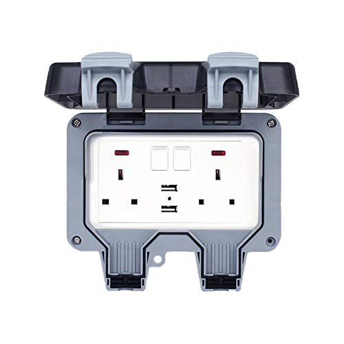qianele Electrical Double Weatherproof Outdoor Switched Power Socket IP66 Rated 13 Amp
