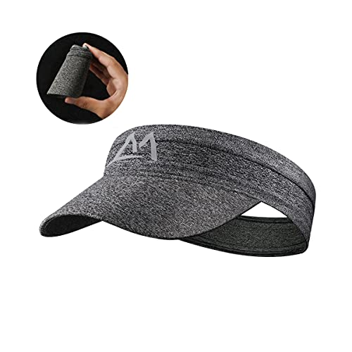 WRELS Sports Visor Hat for Men Women,Foldable Elastic Golf Running Hat,Silicone Sweatband Cap for Outdoor Sports (Gray)