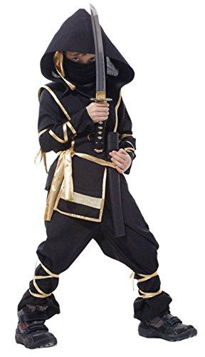 EOZY Disfraz de Ninja para Niño 4-12 años,Halloween Disfraes de Ninja Artes Marciales Infantiles Negro y Dorado para Halloween Carnaval,Cosplay ⭐