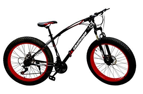 Adults Fat Tire Tyre Mountain Bike Mens/Women/Kids 21 Speed 26' x 4' Wheel MTB Suspension (Black/Red)