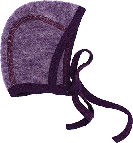 Cosilana Cosilana Baby Häubchen, Größe 50/56, Farbe Lila Melange - aus 100% kbT Wolle Fleece - Vertrieb nur durch Wollbody®