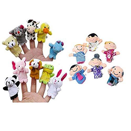 OPAKY 16PC Finger Puppets Animales Gente Familia Miembros Educativo Juguete Terciopelo Dedo Animal Juguete Marioneta Jugar Aprender Story Bolsa Rellenos Muñeca de marioneta de Mano de Baby Product