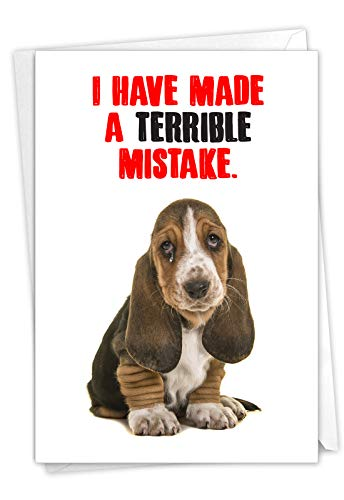 NobleWorks - I'm Sorry Greeting Card with Envelope - Humorous Forgive Me Notecard - Terrible Mistake C7220SRG
