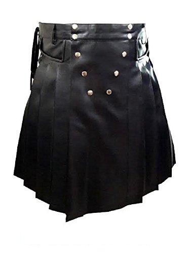 Men Real Black Leather Gladiator Pleated Utility Kilt LARP