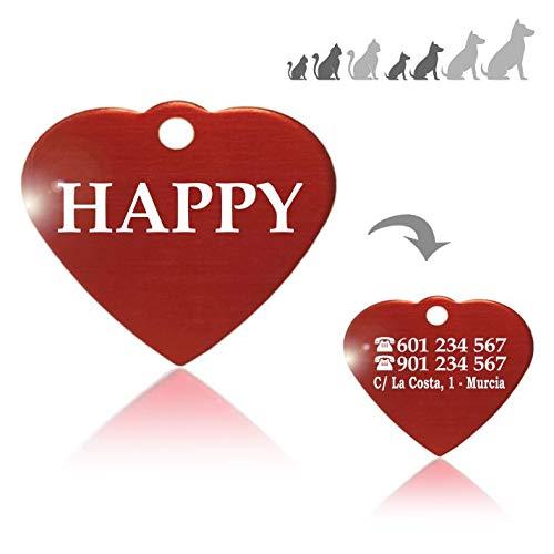 Iberiagifts - Placa identificación de en Forma de corazón. para Mascotas pequeñas a Medianas. Chapa Medalla de identificación Personalizada para Collar Perro Gato Mascota grabada
