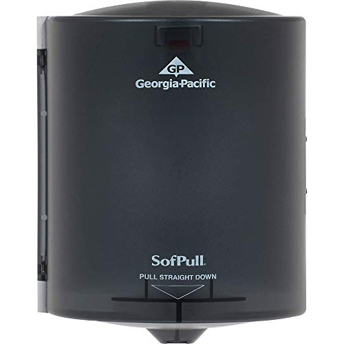 "SofPull Regular Centerpull Paper Towel Dispenser by GP PRO (Georgia-Pacific), Translucent Smoke, 58204, 1 Dispenser, 9.250"" W x 8.750"" D x 11.500"" H"