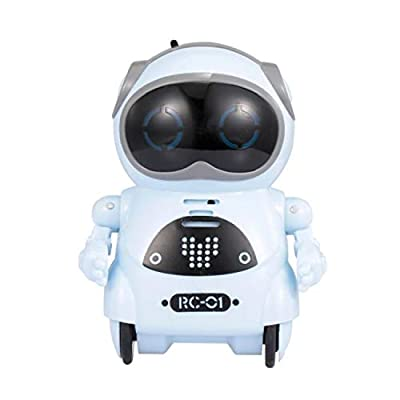 LUCKYSSR Portable Toy Robot Educational Mini Pocket Robot for Kids Interactive Dialogue Conversation, Voice Control, Chat Record, Singing & Dancing Gift Toys (Blue)