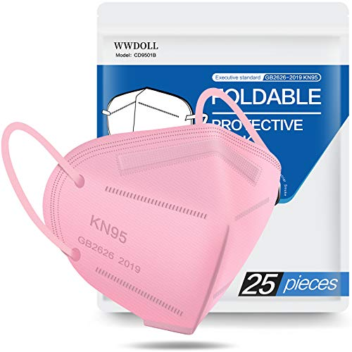 KN95 Face Mask 25 Pack, Filter Efficiency≥95%, WWDOLL 5-Ply Black KN95 Masks Protection Against PM2.5 Dust, Pollen and Haze-Proof KN95 Mask Pink