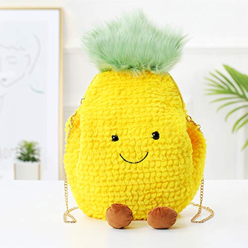 VH 1969 Pineapple Stuffed Plush Toys Fruit Throw Pillow Doll for Kids,Pineapple Plush Shoulder Bag Hand Warm for Woman,Pineapple Gift