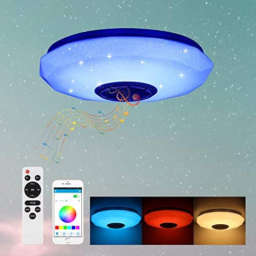 Lámpara de techo de 36 W con música para salón, Laiashley RGB, cambia de color, con mando a distancia y altavoz Bluetooth integrado, lámpara empotrada para baño, cocina, pasillo