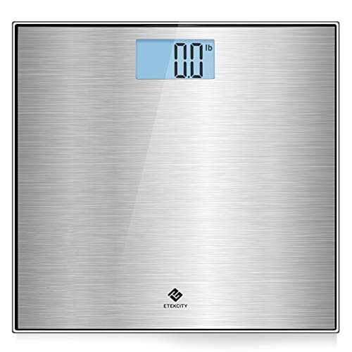 Etekcity Stainless Steel Digital Body Weight Bathroom Scale, Step-On Technology, Large Blue LCD Backlight Display,400 Pounds, Body Tape Measure Included