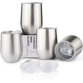 Sivaphe Cups Stainless Steel for Family Friends Camping, 12OZ Coffee Wine Beer Tumblers Double Walled Insulated with Lids Set of 4 Christmas Gifts