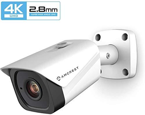 Amcrest UltraHD 4K (8MP) Cámara IP Bullet PoE para Exteriores, 3840x2160, visión Nocturna de 131 pies, Lente de 2.8 mm, IP67 Resistente a la Intemperie, grabación MicroSD, Blanco (IP8M-2496EW-28MM)