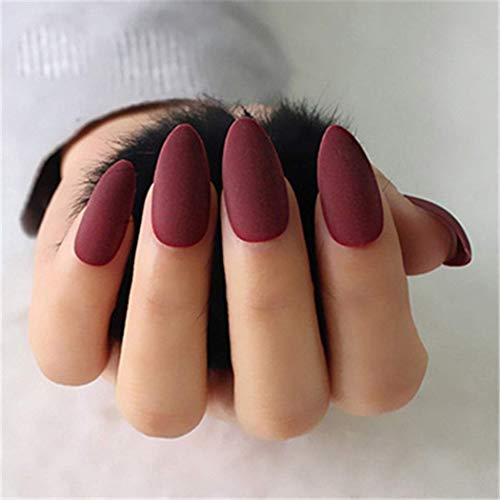 MISUD Stiletto Flase Nails 24pcs Matte Wine Red Pointed Almond Shaped Full Cover Fake Nail Press on Nail Tips for Office Women