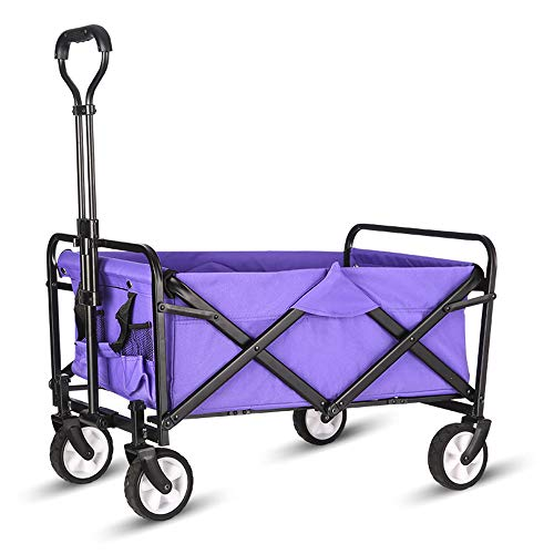 WHITSUNDAY Collapsible Folding Garden Outdoor Park Utility Wagon Picnic Camping Cart Compact Size Purple