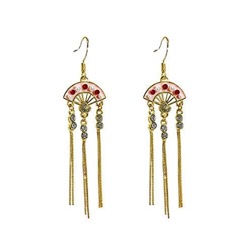 XIANGBAO-Earrings National Style Beijing Opera Facial Make Earrings Fan-shaped Asymmetric Fringed Retro Long Section Wire Linear French Earrings Ear Ornaments (Color : Fan shaped asymmetry)