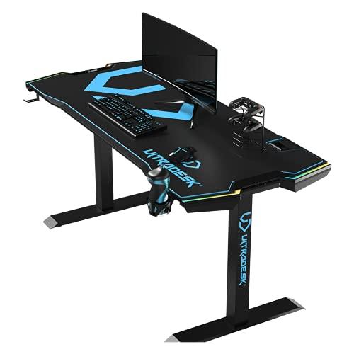 Ultradesk Force – Escritorio de ordenador para videojuegos con LED RGB, alfombrilla XXL y accesorios, 166 x 70 x 76,5 cm