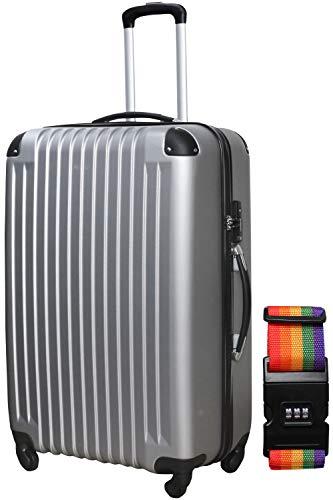 DABADA(ダバダ) スーツケース ベルト付 キャリーケース 機内持込 S M L ファスナー TSAロック (M, シルバー)