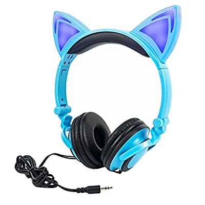 Kids Headphones Cat Ear Headphone with LED Light,Limson Foldable Wired Over Ear Gaming Headset,Blinking Glowing Cosplay Cute Earphone Compatible with Computer Tablet,Apple and Android Phone (Blue) from LIMSON