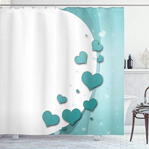 XCBN Ducha Turquesa Arte romántico con Corazones y Estrellas Tema de la Felicidad de la Boda decoración del baño con Gancho A1 120x180cm