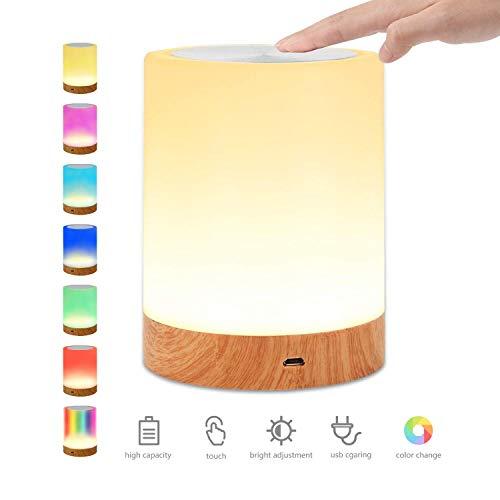 LED-Nachtlicht, Nachttischlampe Stimmungslicht, Tragbare Smart Touch Control Nachtlicht, LED Nachttischlampe mit Dimmbar Wiederaufladbarer USB-Anschluss für Kinder, Schlafzimmer, Camping